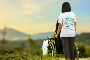 wheelchair and caregiver